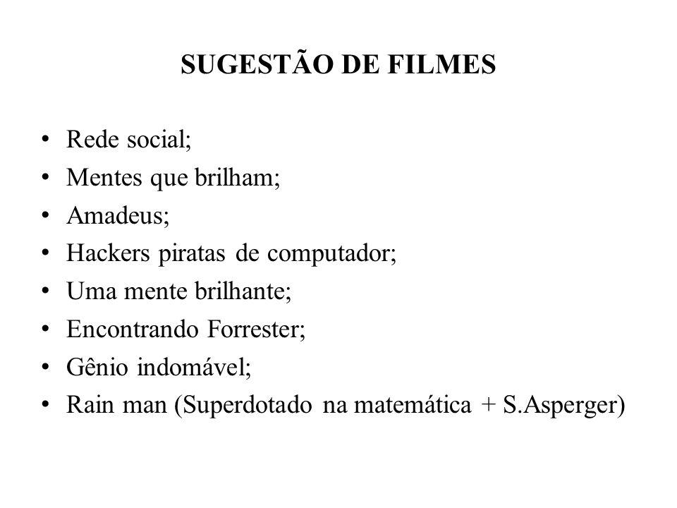SUGESTÃO DE FILMES Rede social; Mentes que brilham; Amadeus;
