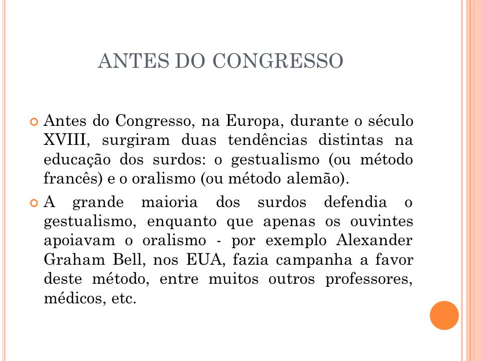 ANTES DO CONGRESSO