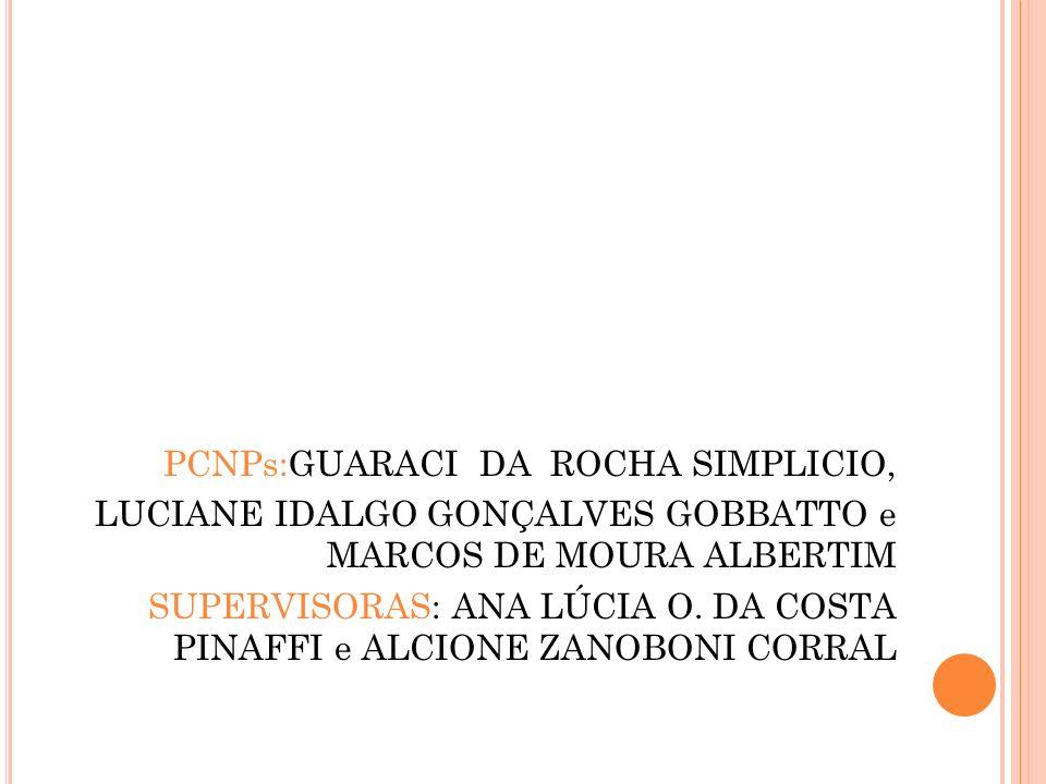 PCNPs:GUARACI DA ROCHA SIMPLICIO, LUCIANE IDALGO GONÇALVES GOBBATTO e MARCOS DE MOURA ALBERTIM SUPERVISORAS: ANA LÚCIA O.