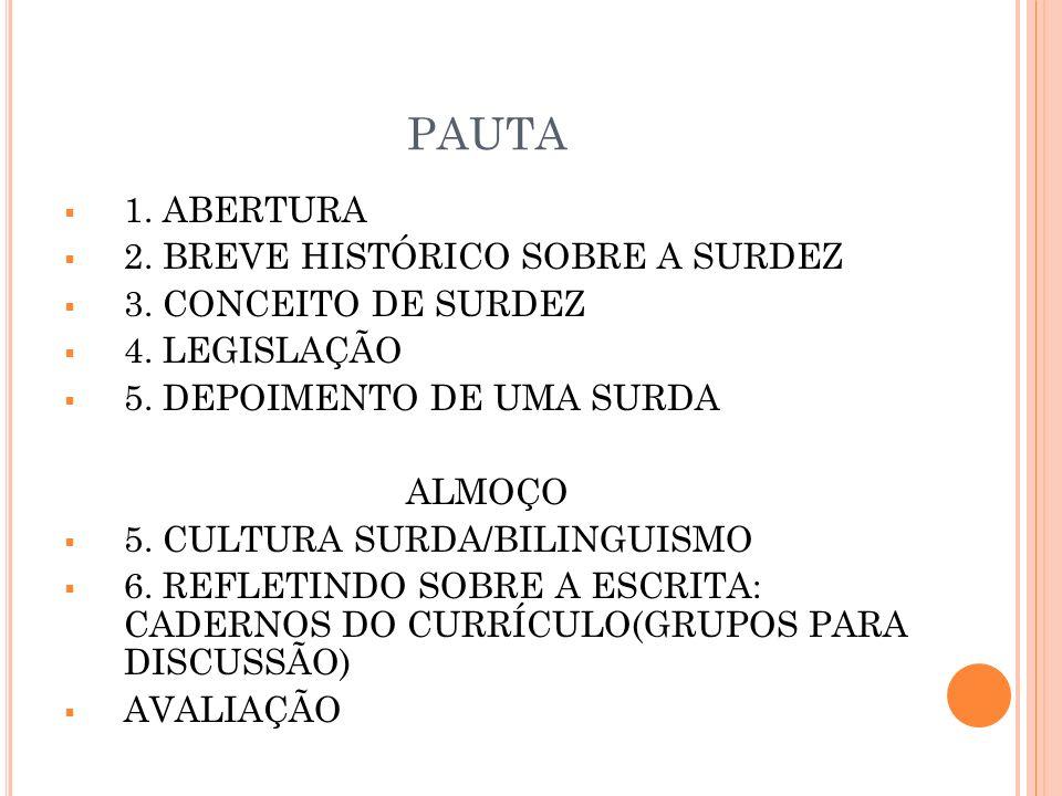 PAUTA 1. ABERTURA 2. BREVE HISTÓRICO SOBRE A SURDEZ