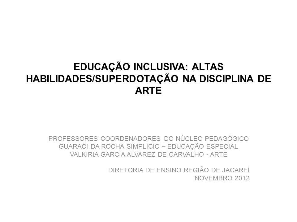 EDUCAÇÃO INCLUSIVA: ALTAS HABILIDADES/SUPERDOTAÇÃO NA DISCIPLINA DE ARTE