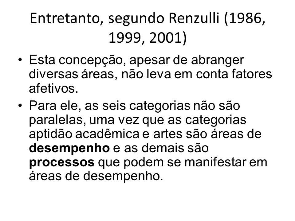 Entretanto, segundo Renzulli (1986, 1999, 2001)