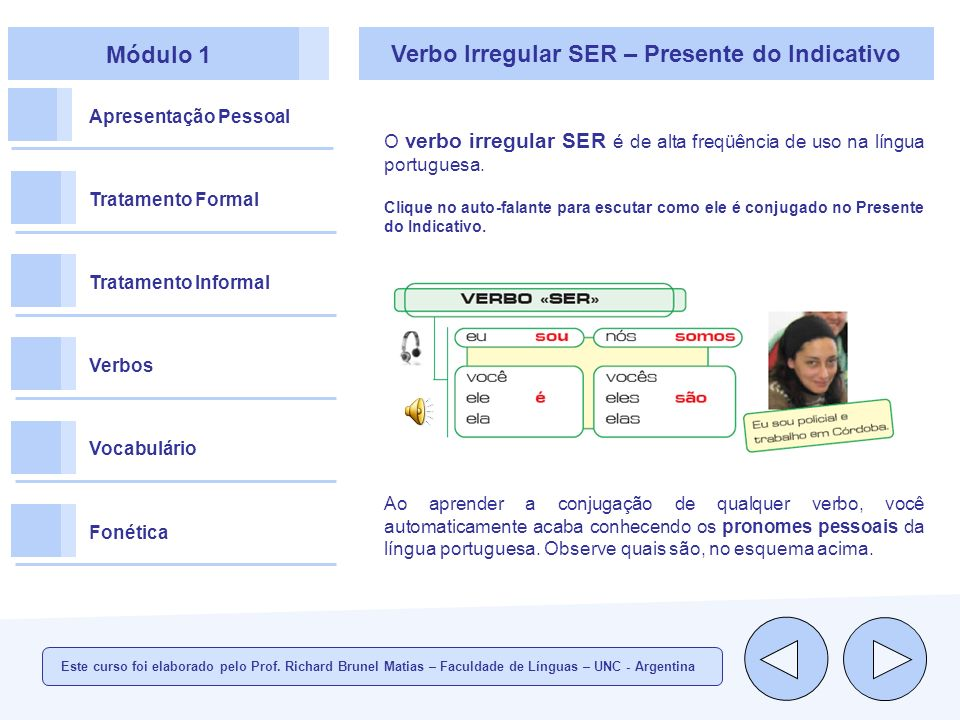 Verbo Irregular SER – Presente do Indicativo