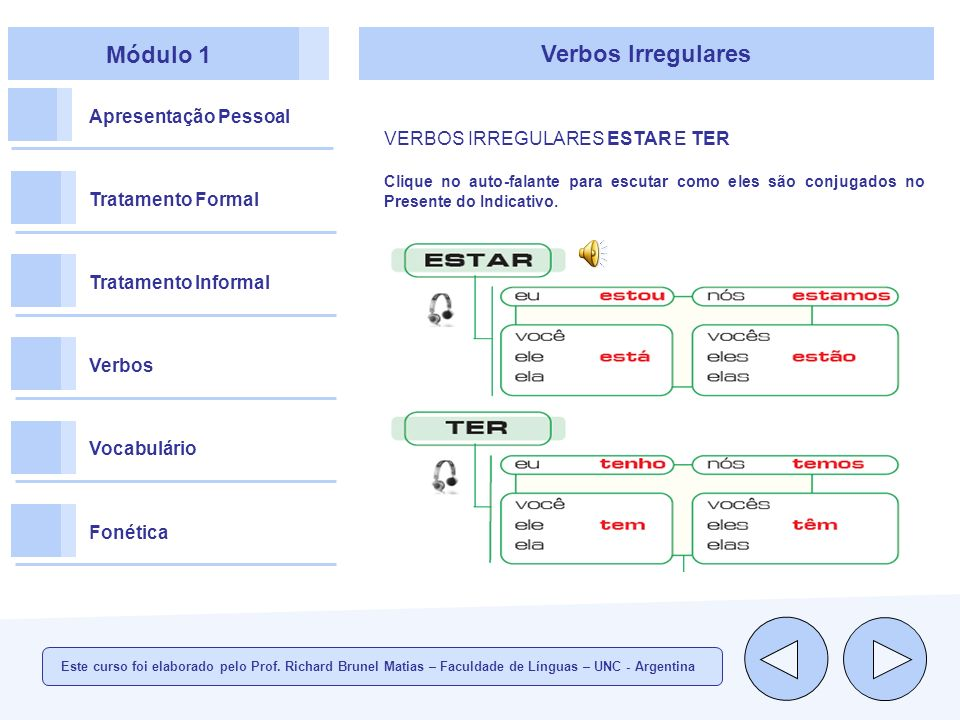 Módulo 1 Verbos Irregulares