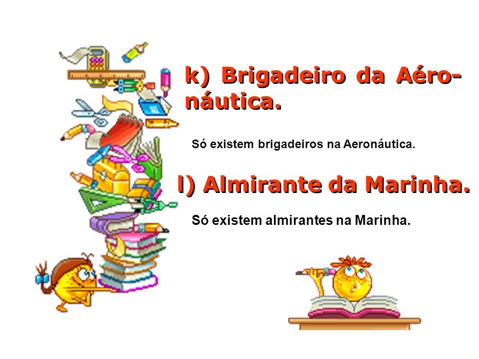 k) Brigadeiro da Aéro- náutica.