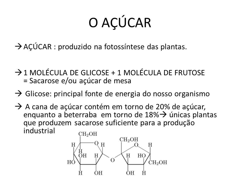 O AÇÚCAR AÇÚCAR : produzido na fotossíntese das plantas.