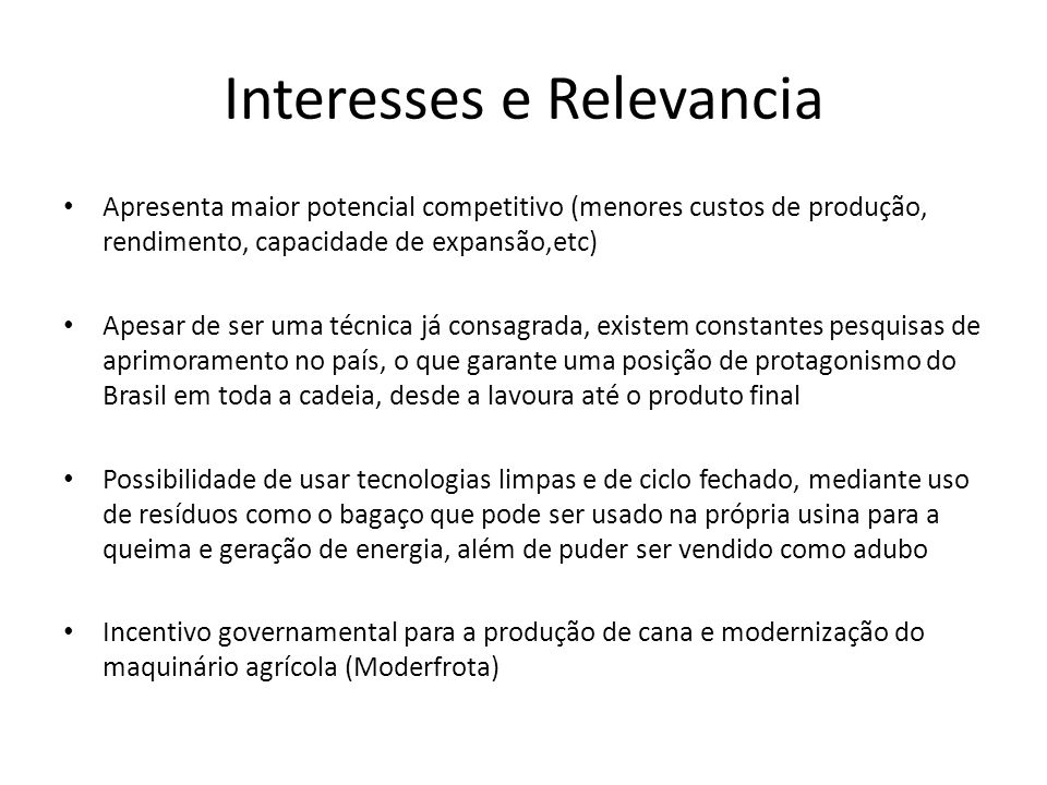 Interesses e Relevancia
