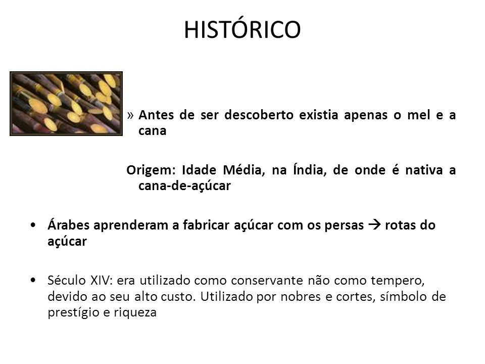 HISTÓRICO Antes de ser descoberto existia apenas o mel e a cana