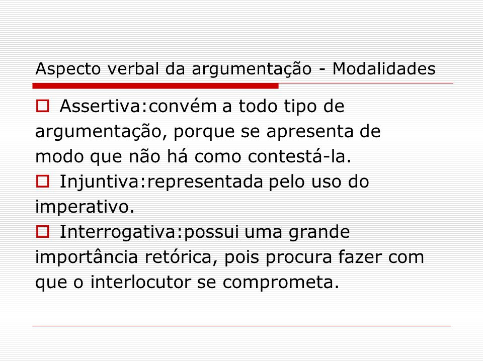 Aspecto verbal da argumentação - Modalidades