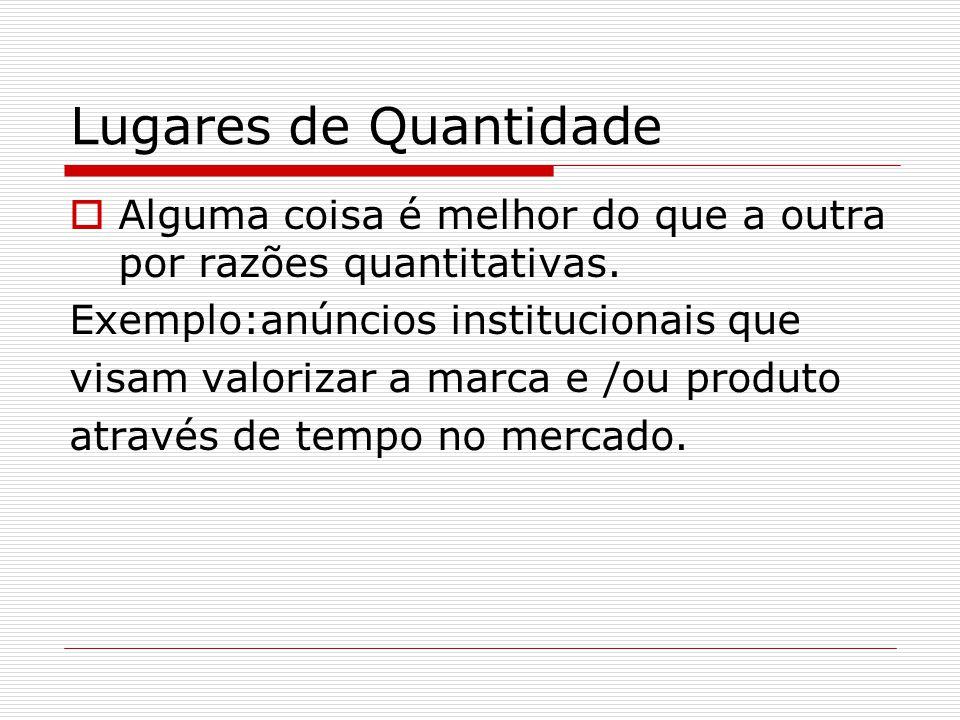 Lugares de Quantidade Alguma coisa é melhor do que a outra por razões quantitativas. Exemplo:anúncios institucionais que.