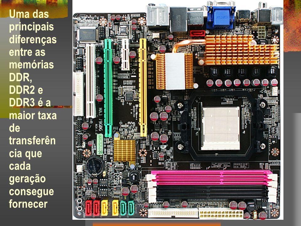 Uma das principais diferenças entre as memórias DDR, DDR2 e DDR3 é a maior taxa de transferência que cada geração consegue fornecer