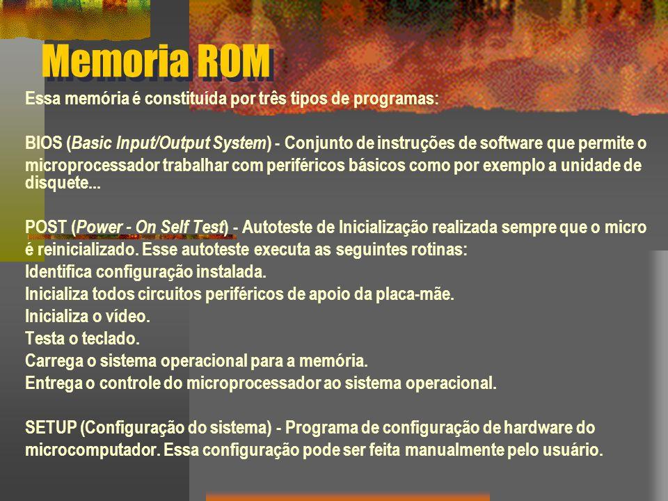 Memoria ROM Essa memória é constituída por três tipos de programas: