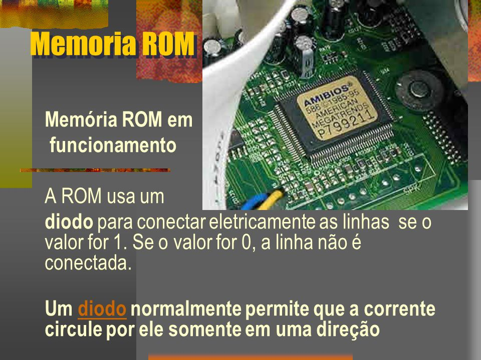 Memoria ROM Memória ROM em funcionamento A ROM usa um