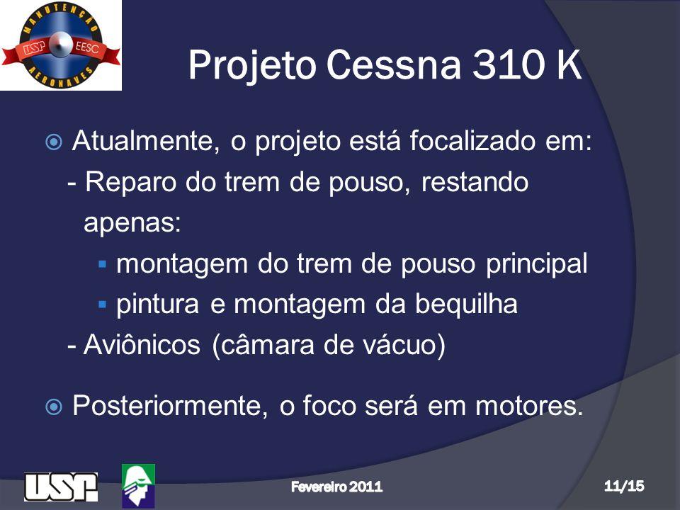 Projeto Cessna 310 K Atualmente, o projeto está focalizado em: