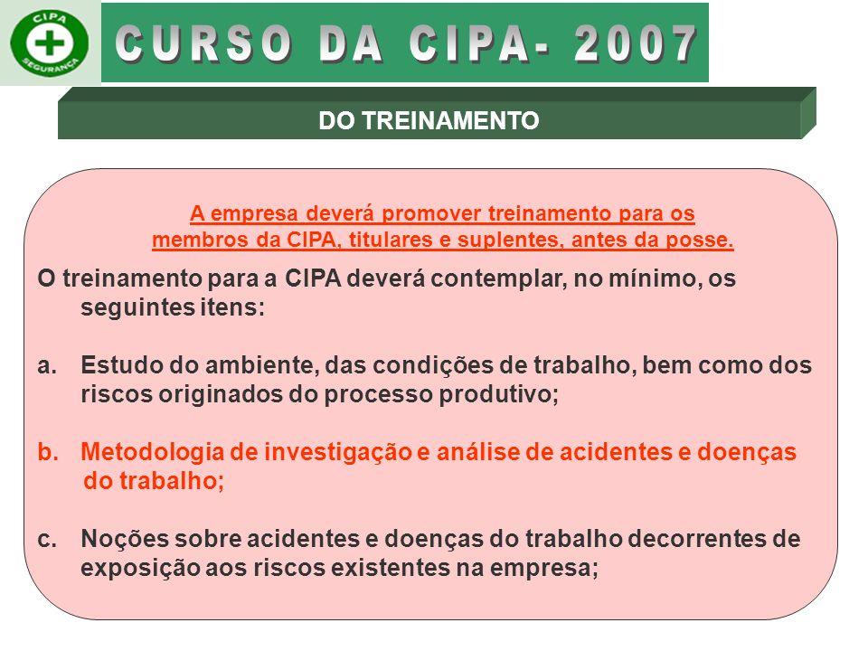 CURSO DA CIPA- 2007 DO TREINAMENTO