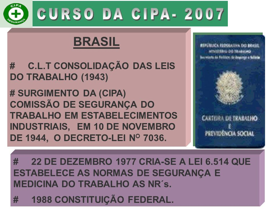 CURSO DA CIPA- 2007 BRASIL. # C.L.T CONSOLIDAÇÃO DAS LEIS DO TRABALHO (1943)
