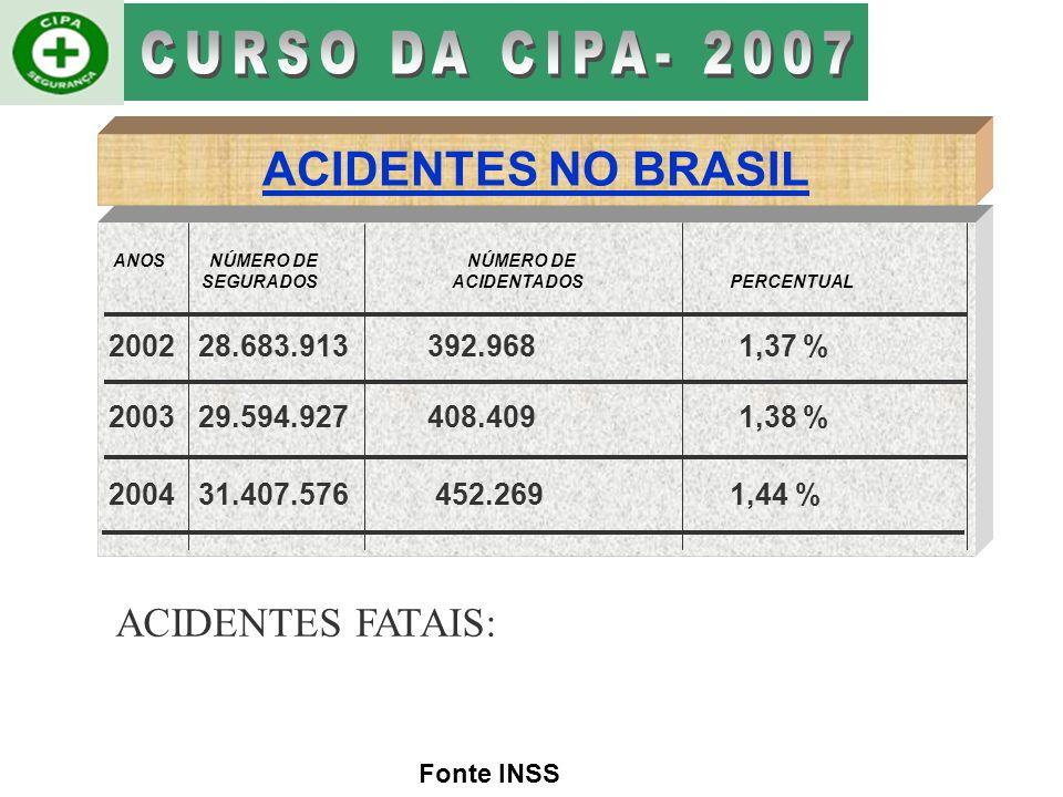 CURSO DA CIPA- 2007 ACIDENTES NO BRASIL ACIDENTES FATAIS: