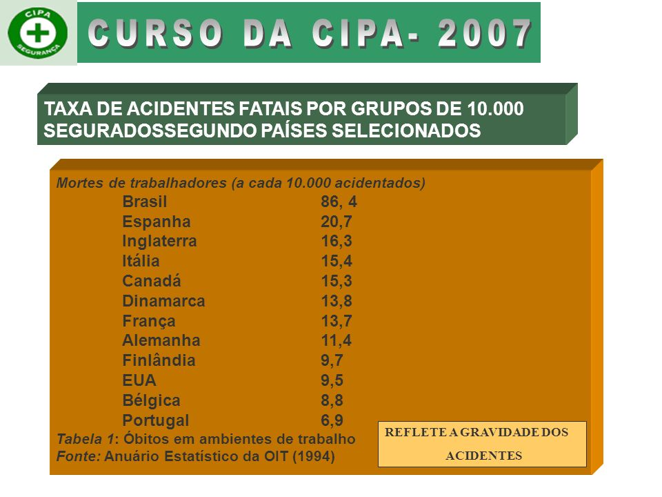 CURSO DA CIPA- 2007 TAXA DE ACIDENTES FATAIS POR GRUPOS DE 10.000