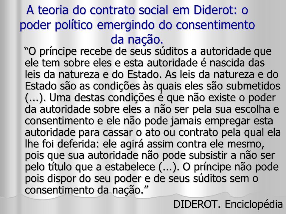 A teoria do contrato social em Diderot: o poder político emergindo do consentimento da nação.
