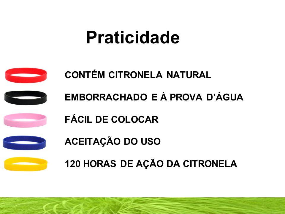 Praticidade CONTÉM CITRONELA NATURAL EMBORRACHADO E À PROVA D'ÁGUA