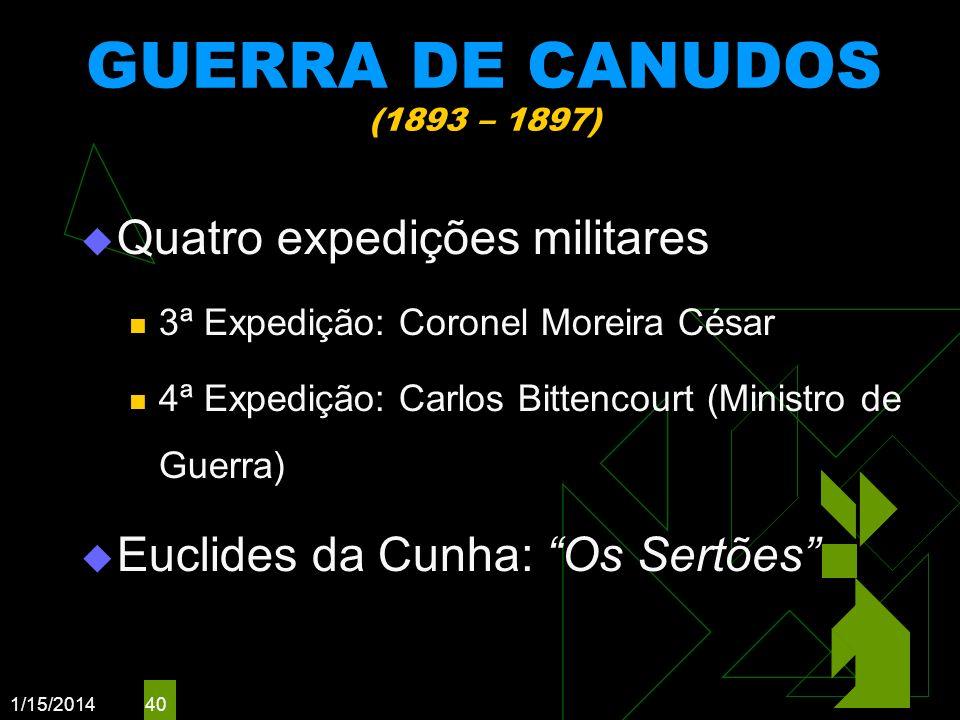 GUERRA DE CANUDOS (1893 – 1897) Quatro expedições militares