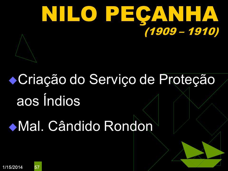 NILO PEÇANHA (1909 – 1910) Criação do Serviço de Proteção aos Índios