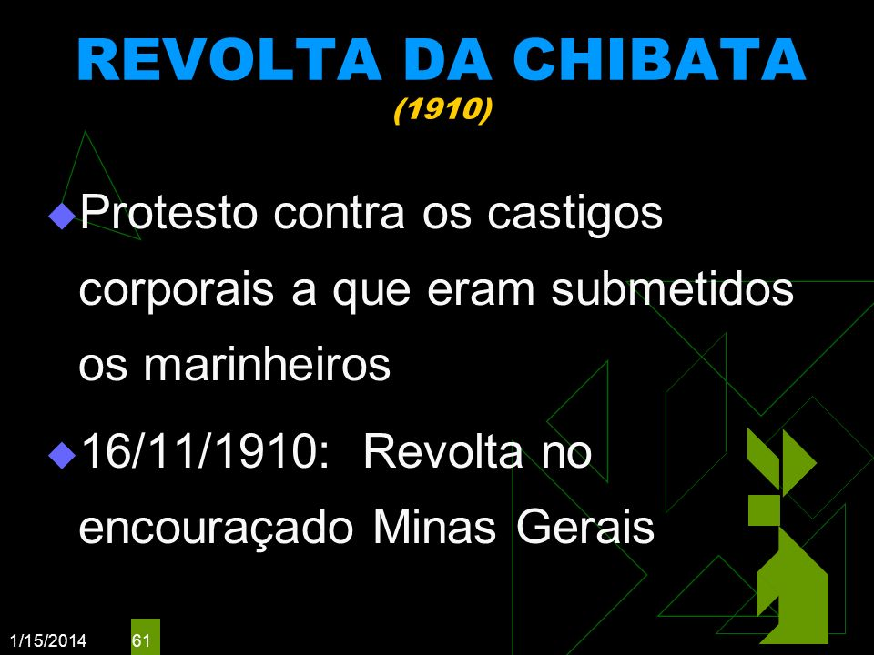 REVOLTA DA CHIBATA (1910) Protesto contra os castigos corporais a que eram submetidos os marinheiros.