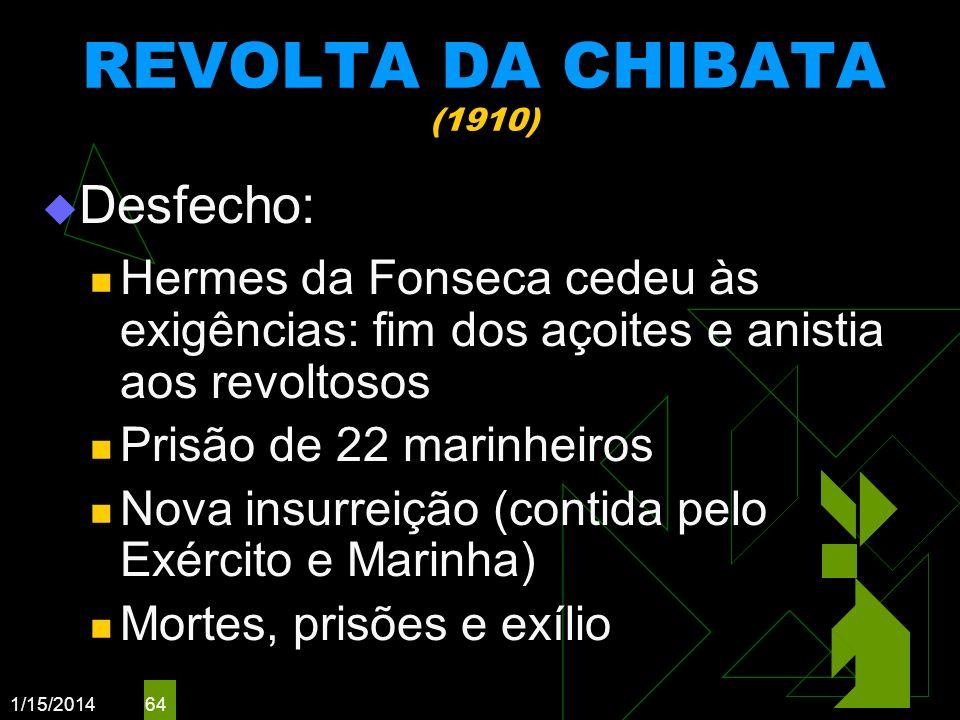 REVOLTA DA CHIBATA (1910) Desfecho: