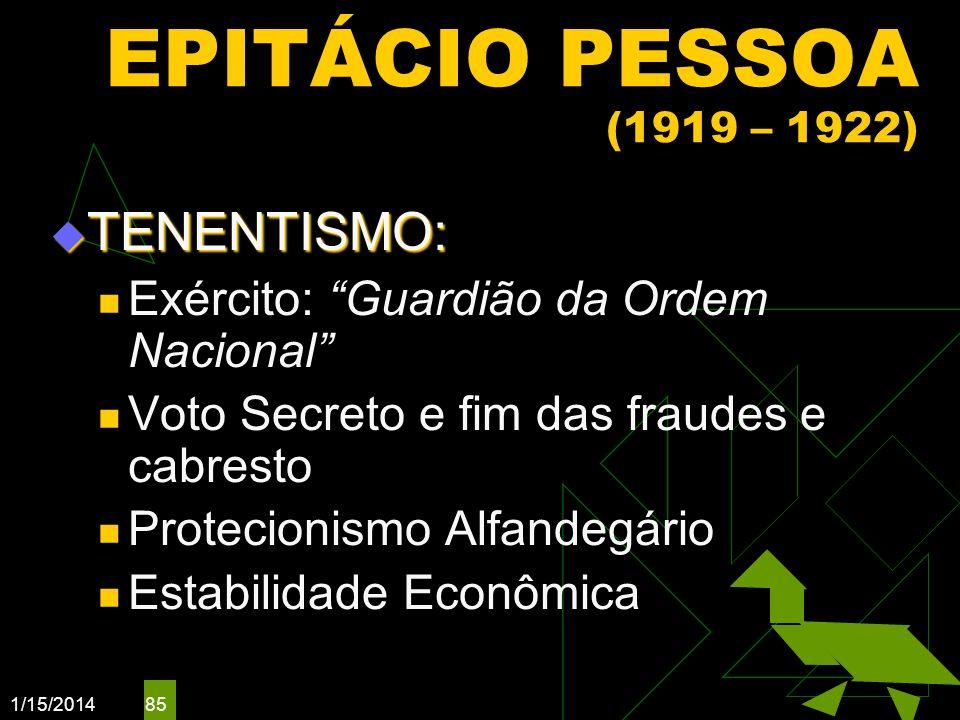 EPITÁCIO PESSOA (1919 – 1922) TENENTISMO: