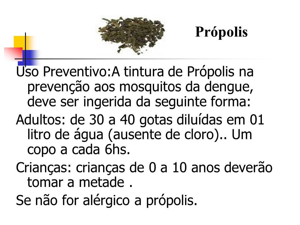 PRÓPOLIS Própolis. Uso Preventivo:A tintura de Própolis na prevenção aos mosquitos da dengue, deve ser ingerida da seguinte forma: