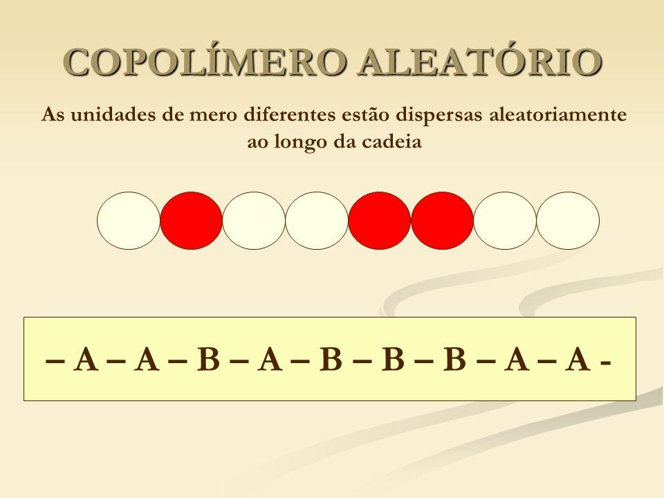 COPOLÍMERO ALEATÓRIO – A – A – B – A – B – B – B – A – A -