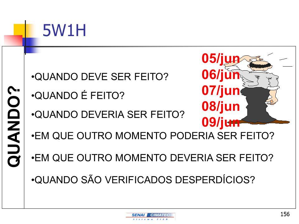5W1H QUANDO 05/jun 06/jun 07/jun 08/jun 09/jun QUANDO DEVE SER FEITO