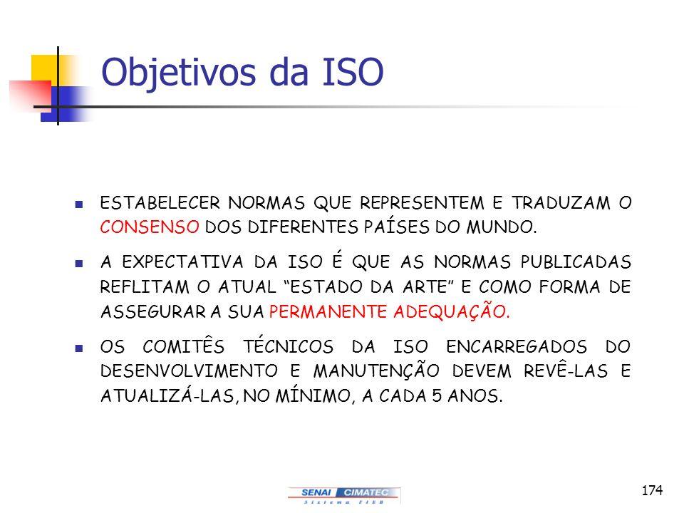 Objetivos da ISO ESTABELECER NORMAS QUE REPRESENTEM E TRADUZAM O CONSENSO DOS DIFERENTES PAÍSES DO MUNDO.