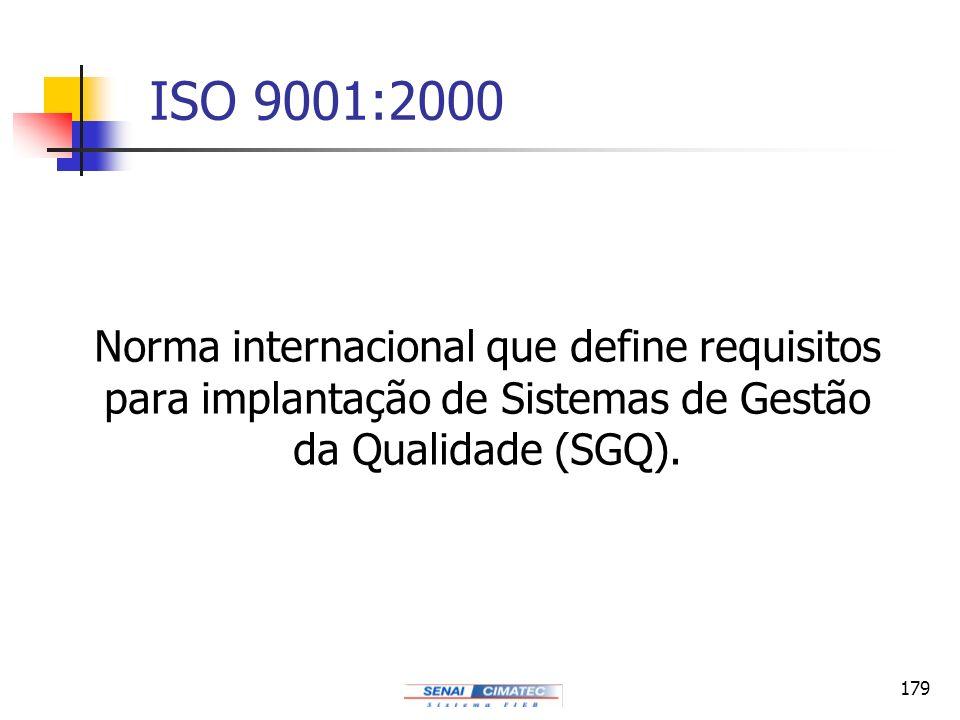 ISO 9001:2000 Norma internacional que define requisitos para implantação de Sistemas de Gestão da Qualidade (SGQ).