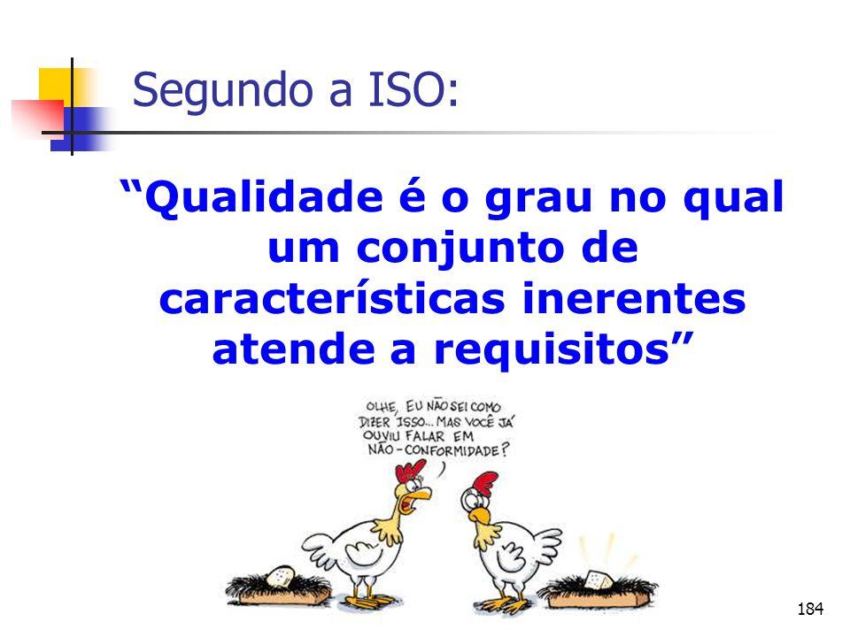 Segundo a ISO: Qualidade é o grau no qual um conjunto de características inerentes atende a requisitos