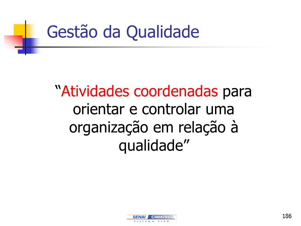 Gestão da Qualidade Atividades coordenadas para orientar e controlar uma organização em relação à qualidade