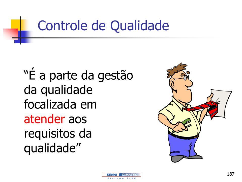Controle de Qualidade É a parte da gestão da qualidade focalizada em atender aos requisitos da qualidade