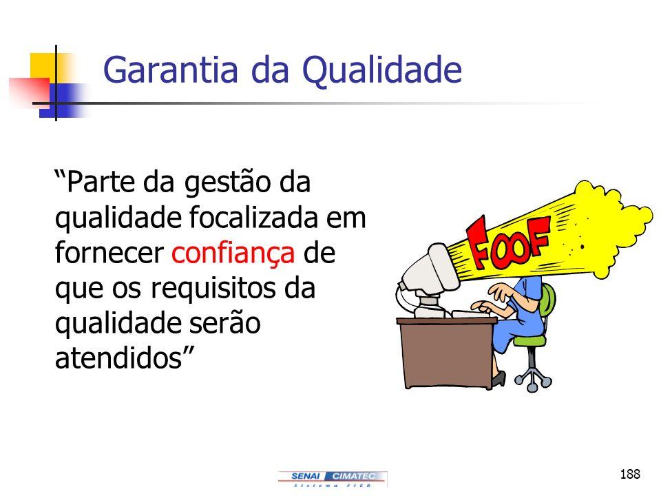 Garantia da Qualidade Parte da gestão da qualidade focalizada em fornecer confiança de que os requisitos da qualidade serão atendidos