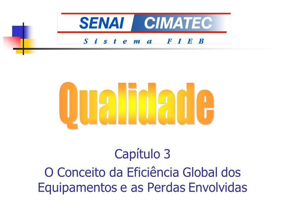 Qualidade Capítulo 3 O Conceito da Eficiência Global dos Equipamentos e as Perdas Envolvidas