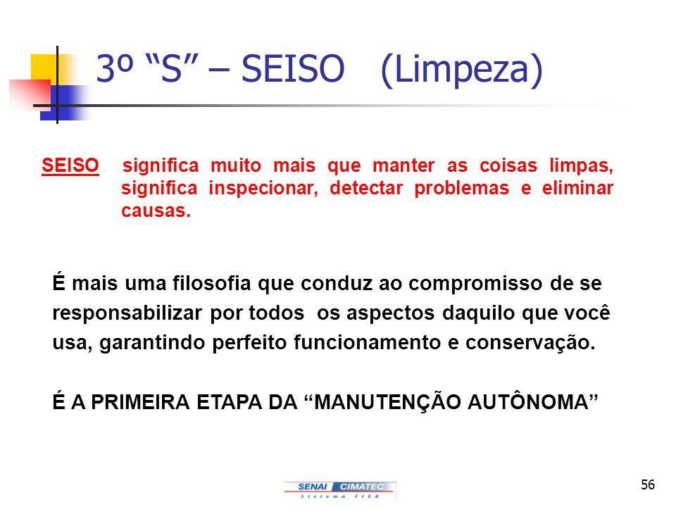 3º S – SEISO (Limpeza) SEISO significa muito mais que manter as coisas limpas, significa inspecionar, detectar problemas e eliminar causas.