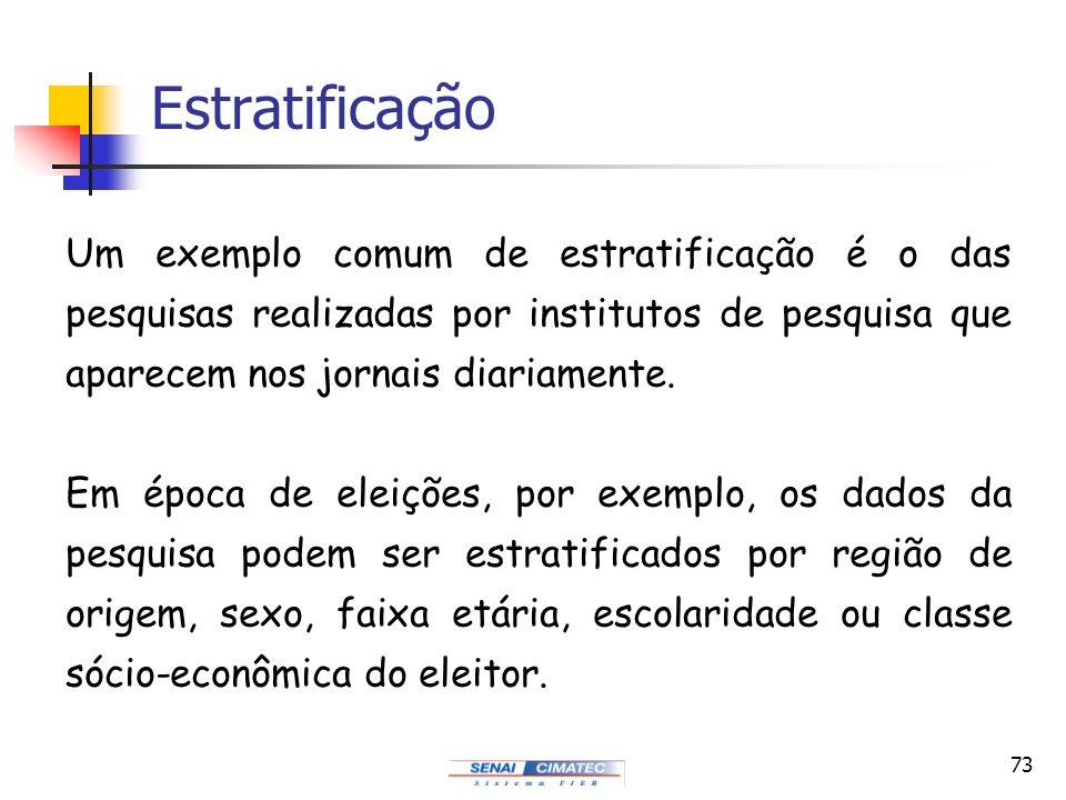 Estratificação Um exemplo comum de estratificação é o das pesquisas realizadas por institutos de pesquisa que aparecem nos jornais diariamente.