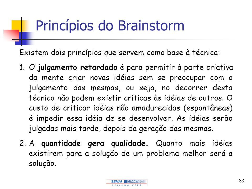 Princípios do Brainstorm