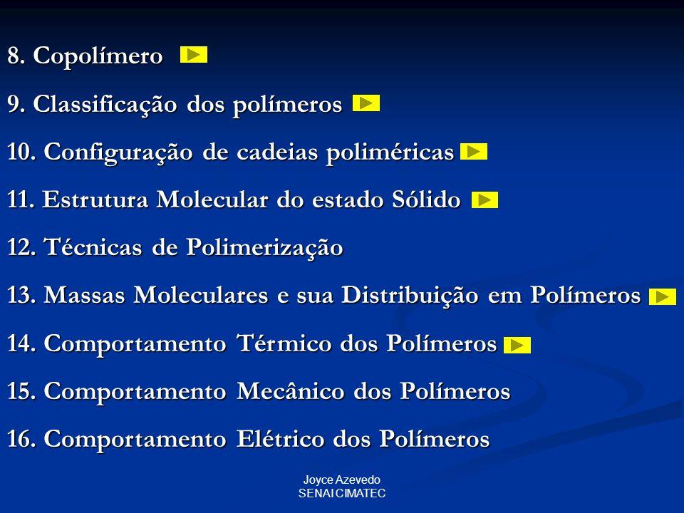 9. Classificação dos polímeros 10. Configuração de cadeias poliméricas