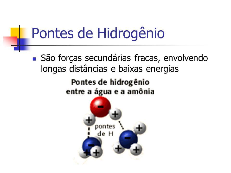 Pontes de Hidrogênio São forças secundárias fracas, envolvendo longas distâncias e baixas energias