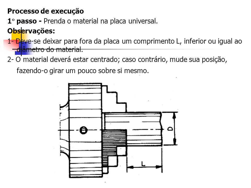 Processo de execução1 passo - Prenda o material na placa universal. Observações: