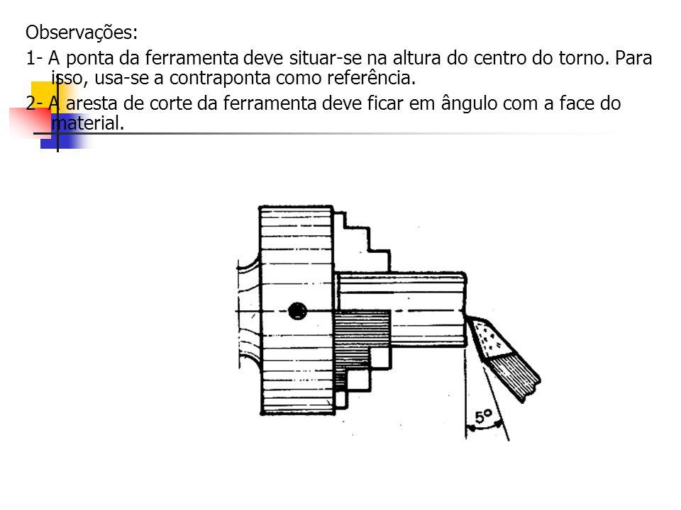 Observações:1- A ponta da ferramenta deve situar-se na altura do centro do torno. Para isso, usa-se a contraponta como referência.