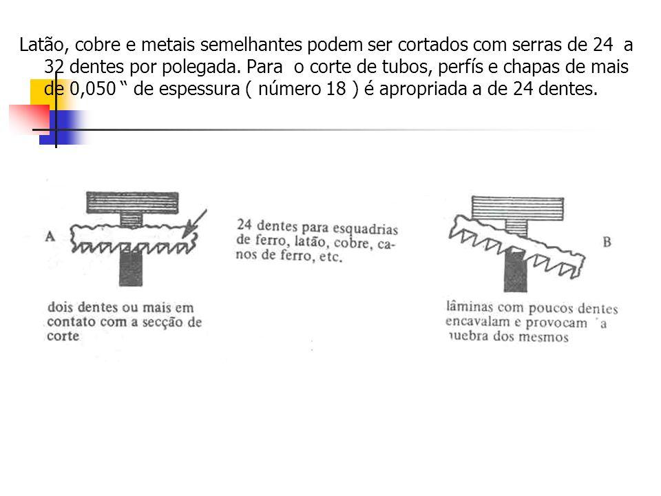 Latão, cobre e metais semelhantes podem ser cortados com serras de 24 a 32 dentes por polegada.