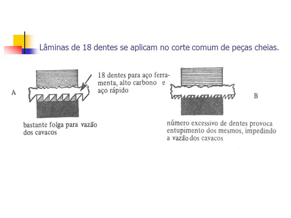 Lâminas de 18 dentes se aplicam no corte comum de peças cheias.