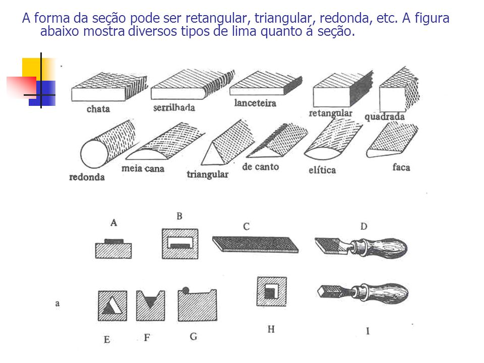A forma da seção pode ser retangular, triangular, redonda, etc