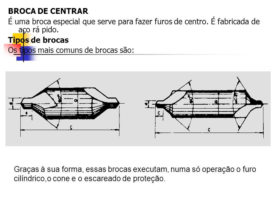 BROCA DE CENTRARÉ uma broca especial que serve para fazer furos de centro. É fabricada de aço rá pido.